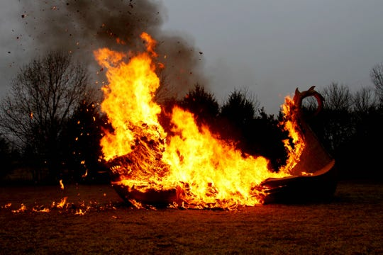 After working for nearly three years and receiving over 20,000 submissions, a Rogersville man set fire to a cardboard Viking ship Dec. 14, 2019.