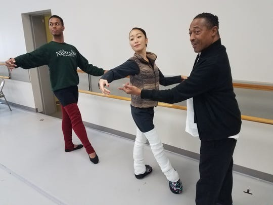 Diego Rafael de Sigueira and Tomoko Takahashi — the newest soloists and full-time company members with Tyrone Brooks, Tallahassee Ballet director. They will dance the Sugar Plum Fairy and her Cavalier in this year's Nutcracker.