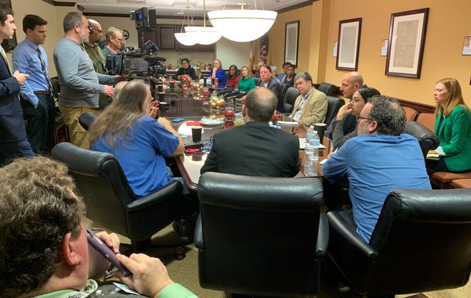 Florida Senate President Bill Galvano hosts members of the Capitol Press Corps for a breakfast and Q&A session Tuesday, Dec. 17, 2019.