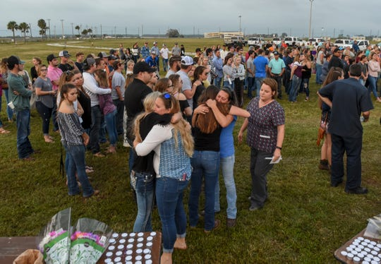 Hundreds gathered to honor the lives of Santia Feketa, 18, and Britney Poindexter, 17, Feb. 8, 2018, during a memorial service at the St. Lucie County Fairgrounds in Fort Pierce. The two teens were killed in fatal car accident Feb. 6, 2018, on Okeechobee Road just west of Midway Road.