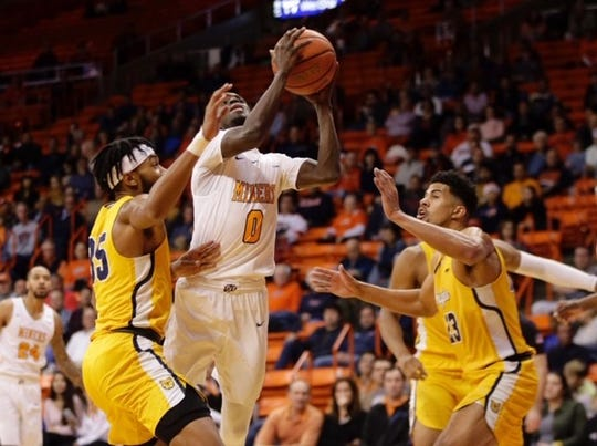 UTEP guard Souley Boum drives to the basket against North Carolina A&T Monday at the Don Haskins Center