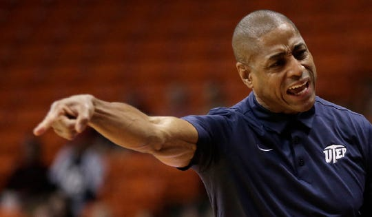 UTEP head coach Rodney Terry instructs a player in the opening game of the WestStar Bank Don Haskins Sun Bowl Invitational Monday. The Miners earned a spot in the finals against UC-Irvine.