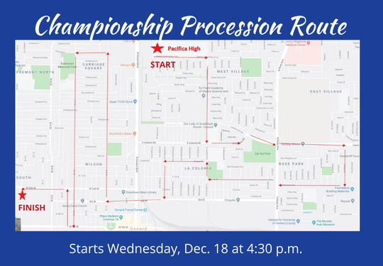 The route for Wednesday's Pacifica High football parade