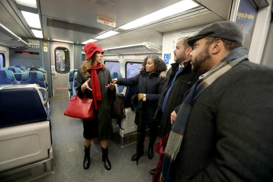 Assemblywoman Amy Paulin and other lawmakers ride a Metro-North train from the Bronx to Tarrytown Dec. 17, 2019 where they were joined by other lawmakers to hold a news conference demanding that the MTA spend more on improvements for Metro-North. With Paulin was Assemblywoman Karines Reyes of the Bronx, Victor Pichardo of the Bronx, and Marcos Crespo, also of the Bronx.