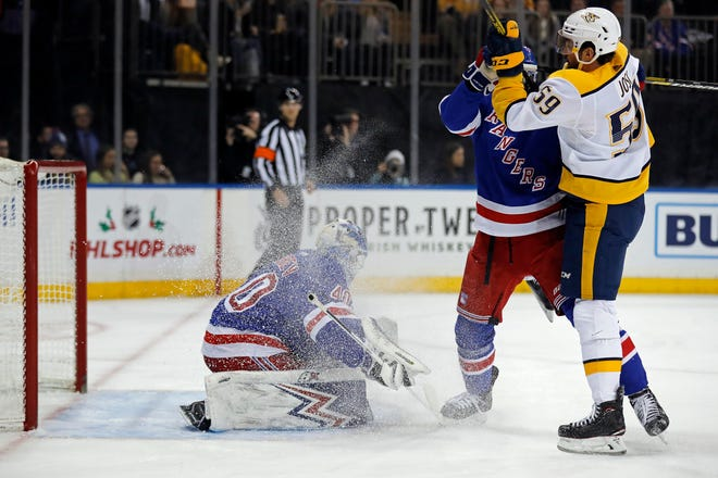 New York Rangers goaltender Alexandar Georgiev (40) gives up a goal to Nashville Predators right wing Rocco Grimaldi (not pictured) during the first period at Madison Square Garden.