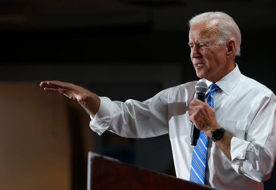 Democratic presidential candidate and former Vice President Joe Biden responds to a question during town hall meeting at the Culinary Union, Local 226, headquarters in Las Vegas Wednesday, Dec. 11, 2019. (Steve Marcus/Las Vegas Sun via AP)