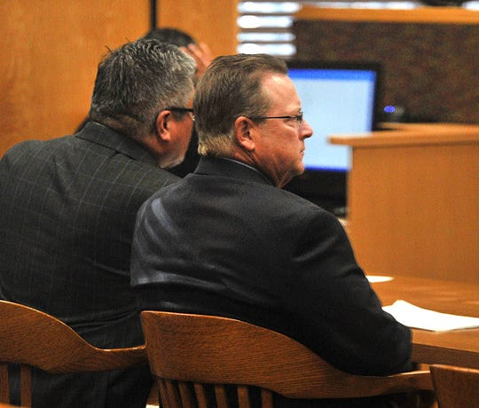 Former City of Wichita Falls Deputy City Manager Jim Dockery, right, and Wichita Falls defense attorney Michael A. Valverde in Wichita County Court at Law No. 1 on Tuesday morning.