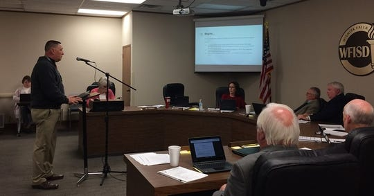Wichita Falls ISD Superintendent Michael Kuhrt does a presentation for trustees on a strategic compensation plan to recruit and retain teachers at schools with high percentages of economically disadvantaged students.
