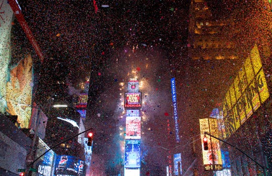 The ball drops to enter in the new year during New Year's Eve celebrations in Times Square on January 1, 2018 in New York.