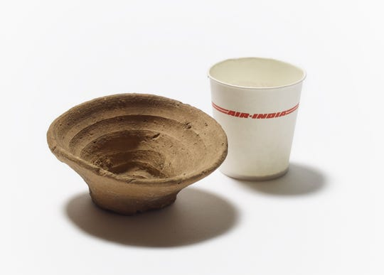 Crafted more than 3,500 years ago by the Minoans, a handless clay cup designed to drink wine in a single-use will go on display Thursday at the British Museum in London.