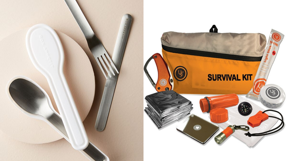 Best unique gifts 2019: Anthropologie Black + Blum Cutlery Set and Ultimate Survival Technologies FeatherLite Survival Kit 2.0