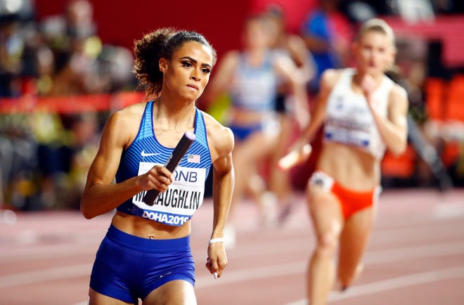 Sydney McLaughlin shown on her way to winning the women's 4x400m Relay final at the IAAF World Athletics Championships 2019 at the Khalifa Stadium in Doha, Qatar, in October.