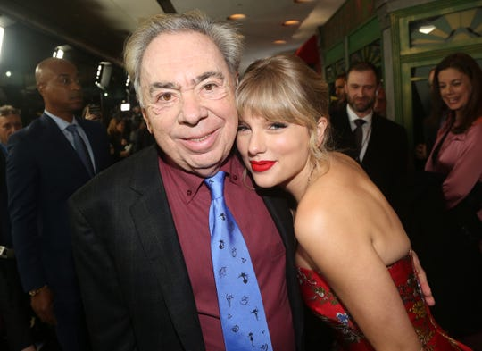 "Legendary composer Andrew Lloyd Webber, left, and Taylor Swift pose at the world premiere of movie musical ""Cats."""