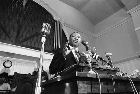 Martin Luther King speaks in Atlanta in 1960.