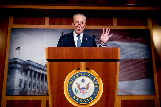 Senate Minority Leader Sen. Chuck Schumer of N.Y., speaks at a news conference, Monday, Dec. 16, 2019, on Capitol Hill in Washington.