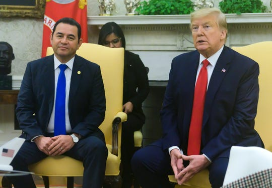 US President Donald J. Trump makes remarks as he welcomes President Jimmy Morales of the Republic of Guatemala to the Oval Office of the White House, in Washington, DC on Dec. 17, 2019.