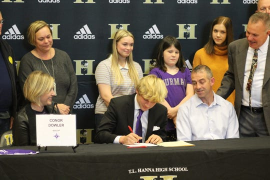 Conor Dowler signed with Furman soccer on December 18, 2019 at T.L. Hanna High School.
