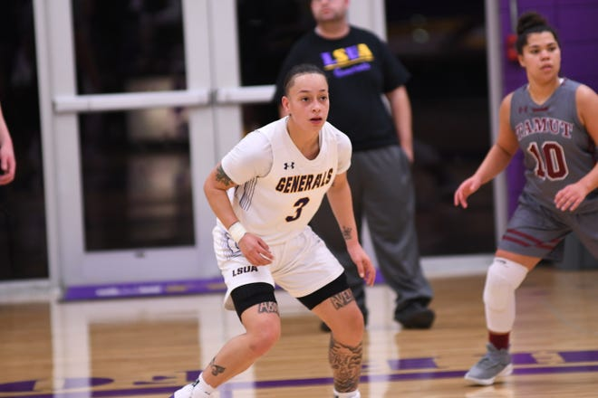LSUA's Brittany Hall (3) achieved her second triple-double of the season Dec. 12 against Texas A&M of Texarkana.