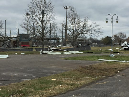 Johnny Downs Recreation Complex after Monday's tornado.