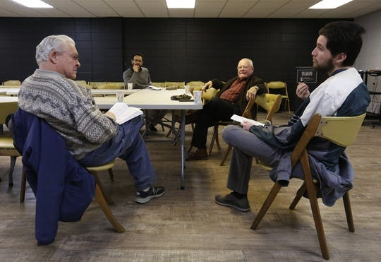 James Reiff, Umair Ahmed, Tom Hoversten and Damon Stengel have a discussion as part of Real Talk on Islam at the Masjid Qamar Oshkosh Mosque in Oshkosh on Tuesday.