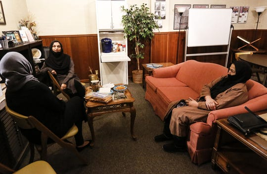 Sana Malik, Duresameen Ahmed and Amatul Naseer gather Tuesday for the Real Talk on Islam event at the Masjid Qamar Oshkosh Mosque in Oshkosh.