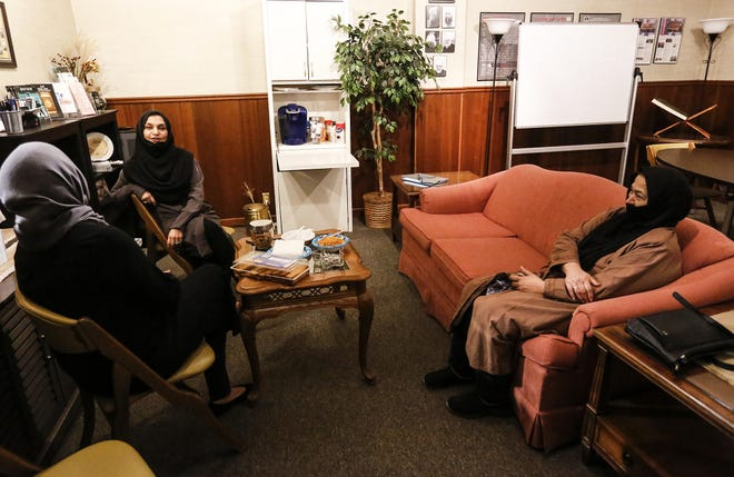 Sana Malik, Duresameen Ahmed and Amatul Naseer gather Tuesday for the Real Talk on Islam event at the Masjid Qamar Oshkosh Mosque in Oshkosh.