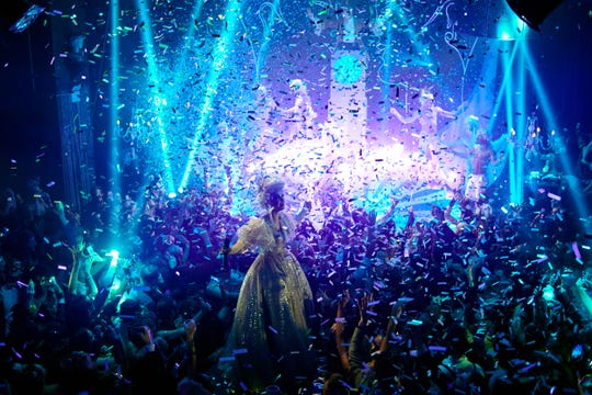 """Scenes from """"The King's Winter Masquerade"""" New Year's Eve celebration on Dec. 31, 2018 at the McKittrick Hotel in New York City."""
