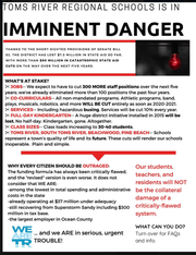 This flier is among the materials handed out by the Greater Toms River Chamber of Commere urging residents to demand more state aid for schools.