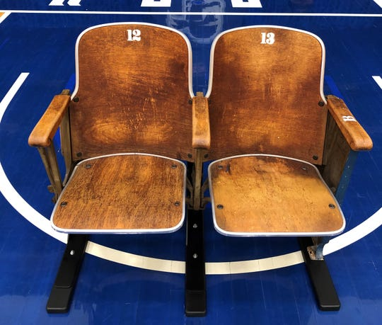 Two of the Walsh Gym chairs, originals from 1941.