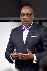 Asheville police chief candidate Maurice Robinson answers questions during a community forum at the Buncombe County Administration Building on Dec. 17, 2019. Robinson is currently a captain with the Cincinnati, Ohio, Police Department.