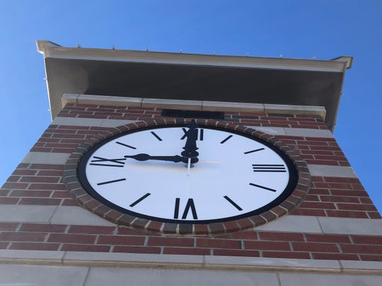 The new Town of Fletcher clock tower has been finished for several weeks, but it's had the same time on it, 9 o'clock. Power should start running to the clock on Friday, Dec. 20.