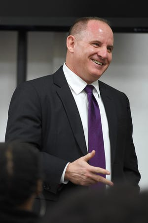 Asheville police chief candidate David Zack answers questions during a community forum at the Buncombe County Administration Building on Dec. 17, 2019. Zack is currently the police chief in Cheektowaga, New York.
