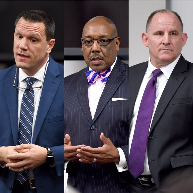 Three men are in the running for Asheville police chief: From left, James Nolette, Maurice Robinson and David Zack.