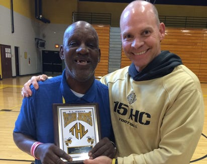 """Polk County football coach Bruce Ollis, right, poses with James """"Radio"""" Kennedy back when Ollis was the football coach at TL Hanna in South Carolina."""