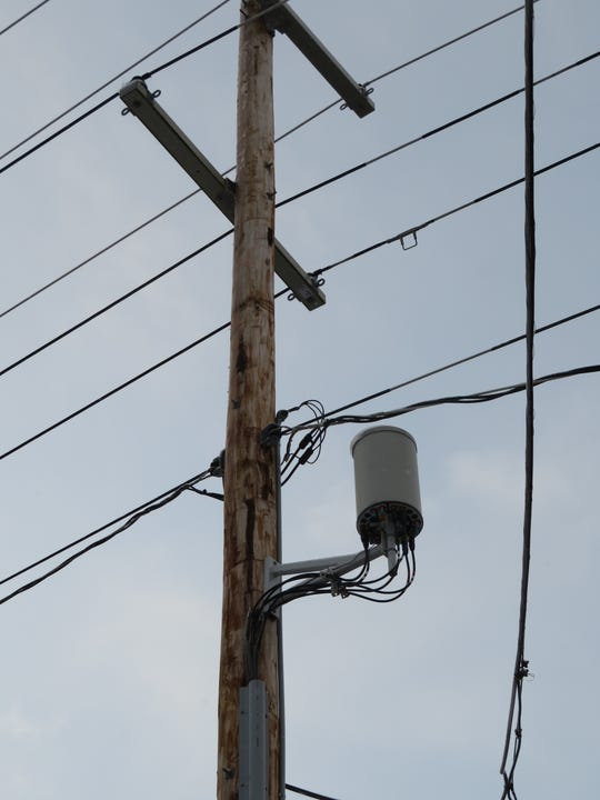 A Verizon Wireless small cell installed on a utility poll at the corner of Kneeland Avenue and Riverside Drive in the City of Binghamton.