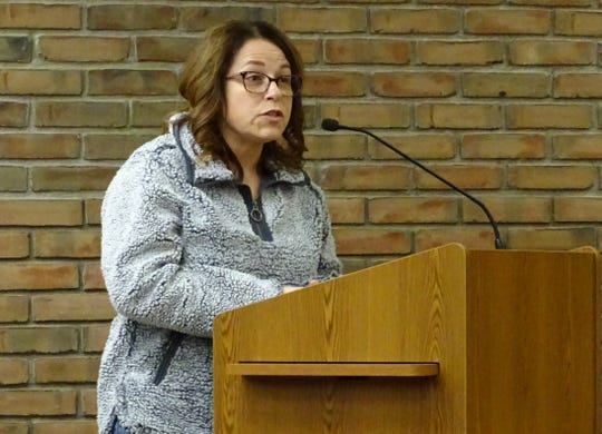 South East Street resident Melanie Ellis speaks against a proposed change to the city's residency requirement for the service-safety director during Tuesday's Bucyrus City Council meeting.