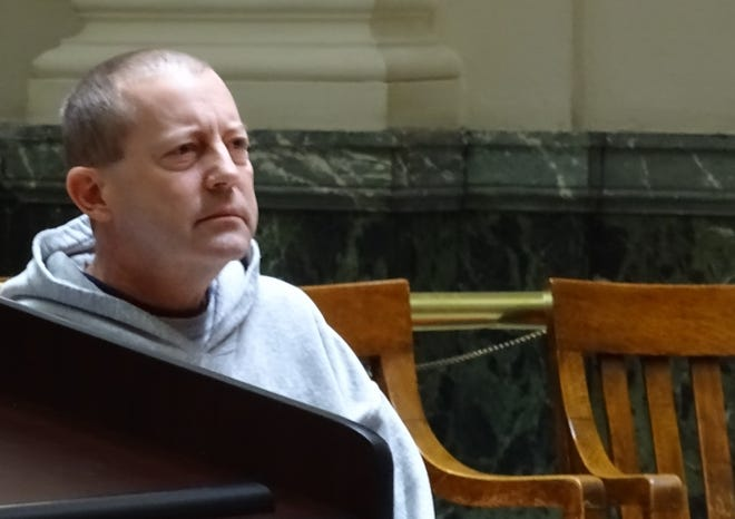Cory Forshaw listens during an arraignment hearing in Crawford County Common Pleas Court in December.