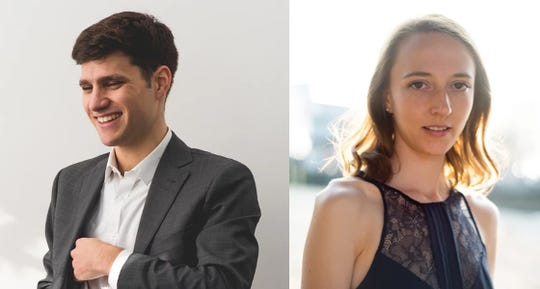 Mairi and Nathan Harris Grewar play piano Dec. 28 at the Town Hall Theater in Middlebury.