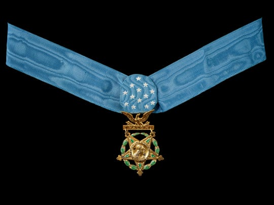 Medal of Honor for Army PFC. Francis X. McGraw of Camden, N.J., for heroic action in World War II hangs now in the National Museum of American History of the Smithsonian in Washington, D.C.