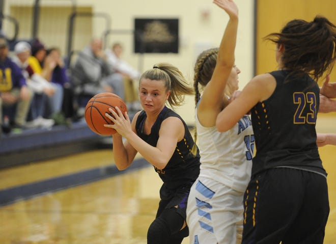 Unioto's Emily Coleman looks to get past an Adena defender during a 51-24 win over the Warriors on Tuesday, December 17, 2019 at Adena High School in Frankfort, Ohio.