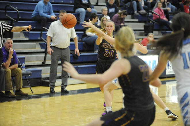 Unioto's Amber Cottrill passes the ball into the post during a 51-24 win over Adena on Tuesday, December 17, 2019 at Adena High School in Frankfort, Ohio.