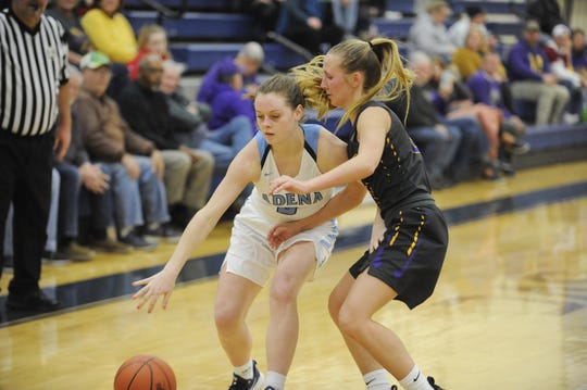 Adena's Hannah Stark dribbles the ball down the court during a game against Unioto on Tuesday, December 17, 2019 at Adena High School in Frankfort, Ohio.