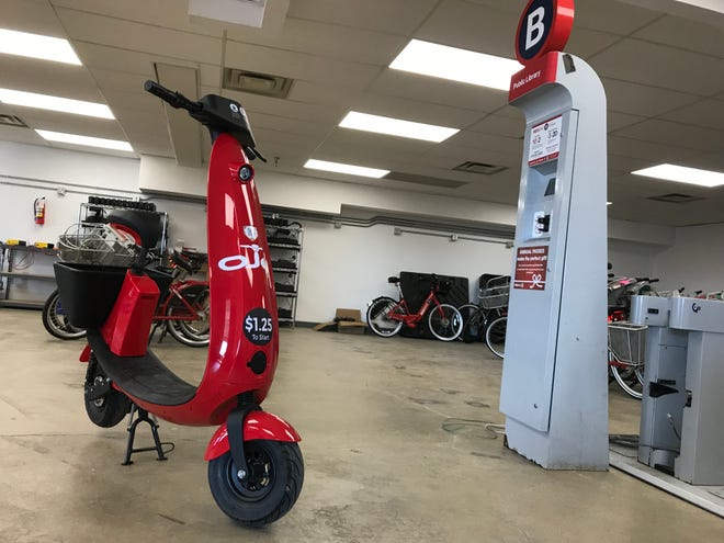 An OjO scooter sits in Cincinnati Red Bike's warehouse. Red Bike is hoping to partner with OjO to bring the scooters to Cincinnati.