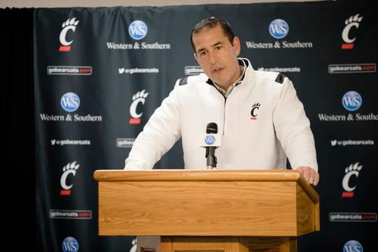 Cincinnati head football coach Luke Fickell speaks during a press conference on recruits on Wednesday, Dec. 18, 2019, at Fifth Third Arena at the University of Cincinnati in Cincinnati.