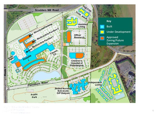Penn Medicine Princeton Medical Center in Plainsboro aims to be the most comprehensive health campus in the country. This maps shows what has been built, under development, and approved for future expansion.