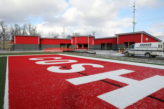 The new fieldhouse for Coshocton High School's Stewart Field is nearing completion.
