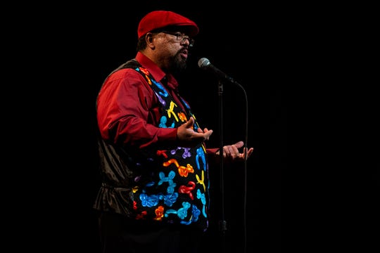 Oscar Rosales shares his story during the Des Moines Storytellers Project's Holiday Spectacular event Tuesday, Dec. 17, 2019, at Hoyt Sherman Place in Des Moines.