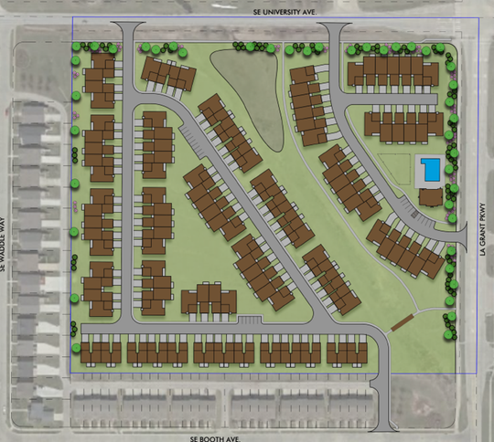 Hubbell Realty Co. plans to begin construction on the Centennial Crossing townhomes in early 2020. An initial rendering shows nearly 130 attached homes at SE University Avenue and SE LA Grant Parkway in Waukee.