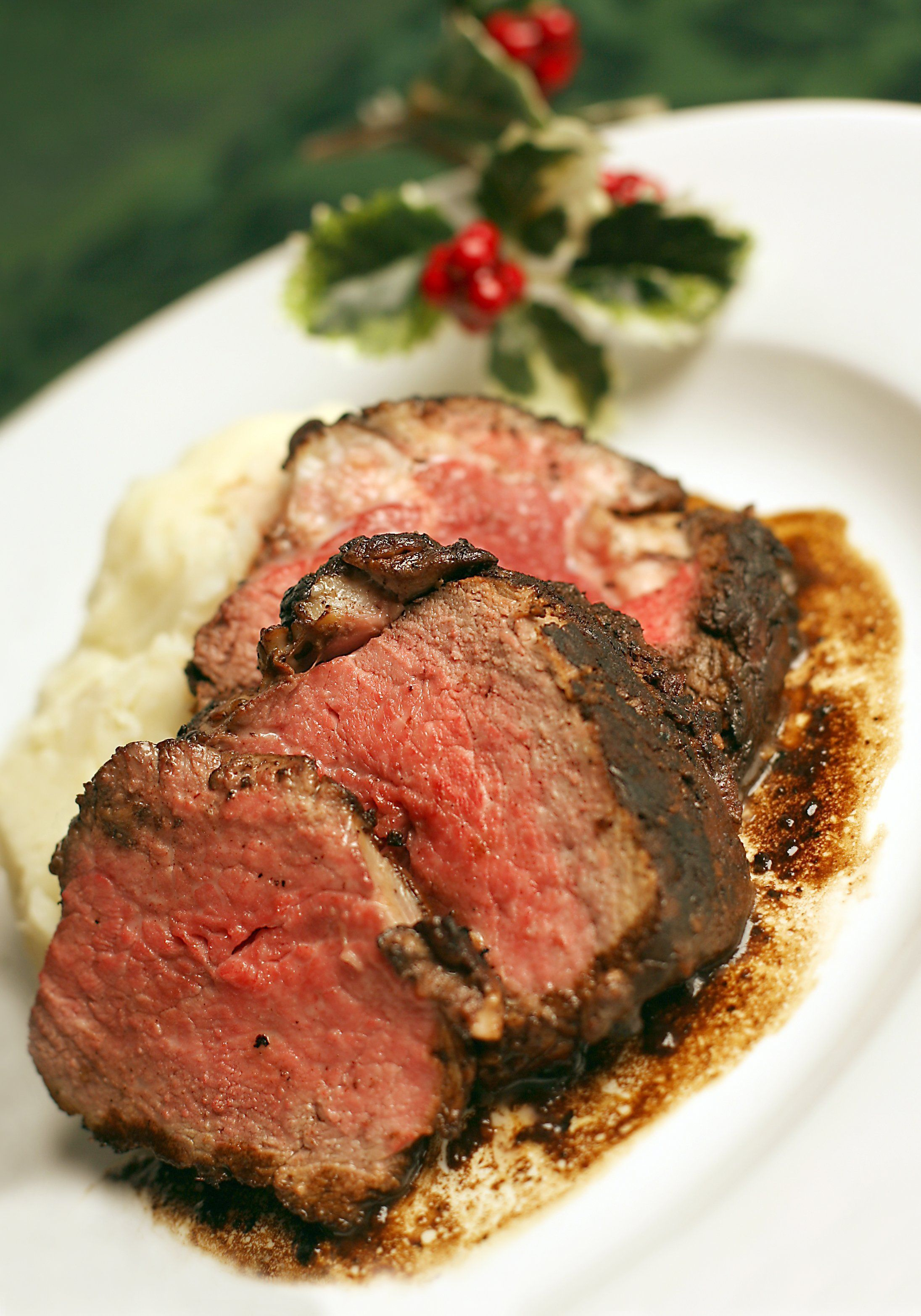 Beef tenderloin with mashed potatoes.