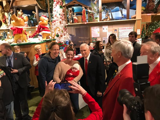 Next stop for Pence is Bronner's, which is a bit chaotic on a good day during Christmas, let alone when the VP is here.
